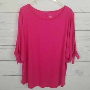 Lane Bryant Pink Loose Fit Slit Tie Sleeve Top New